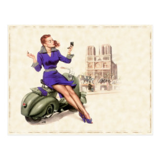 Postcard with Vintage Girl On Her Motorbike