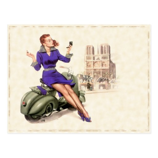 Postcard with Vintage Girl On Her Motorbike