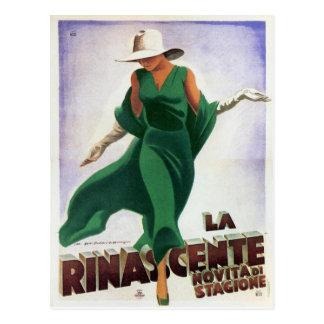 Postcard with Vintage Italian Fashion Print