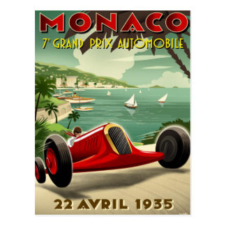 Postcard With Vintage Motor Racing Poster