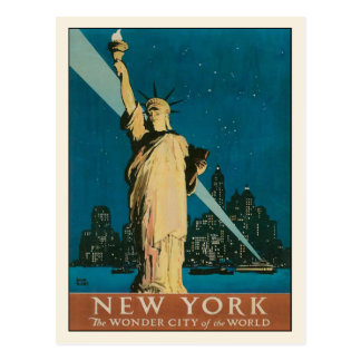 Postcard with Vintage New York Poster Print