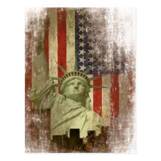 Postcard with Vintage New York Skyline Flag