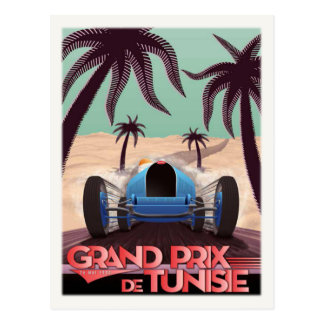 Postcard With Vintage Racing Poster