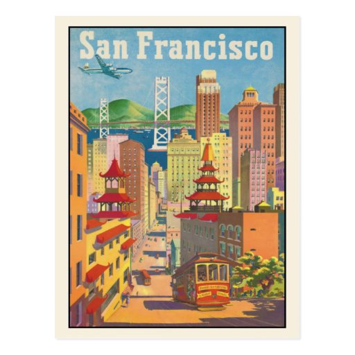 Postcard with Vintage San Francisco Poster Print