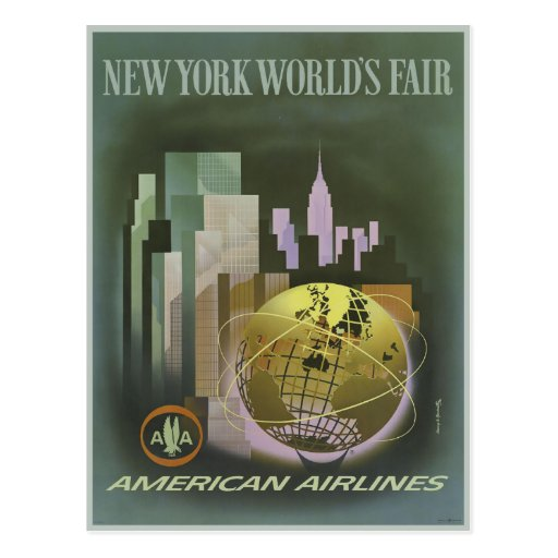 Postcard with Vintage World's Fair Poster Print