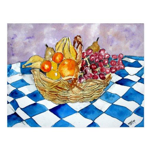 postcards fruit basket still life art post cards