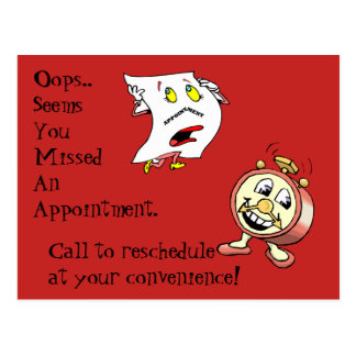 Postcards missed appointment customer contact note
