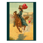 Postcards - Valentine cowgirl horse lasso heart