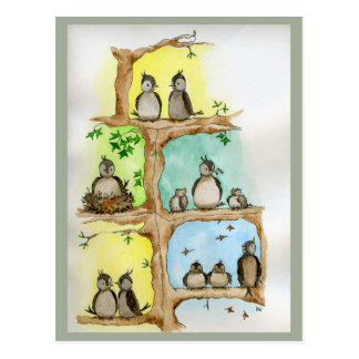 Postcards with Birds and their Babies in a Tree
