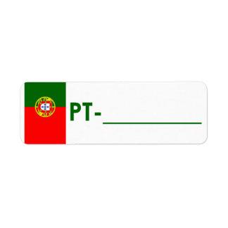 "Postcrossing ID Label Portugal ""Flag Style"" Return Address Label"