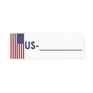 "Postcrossing ID Label USA ""Flag Style"" Return Address Label"
