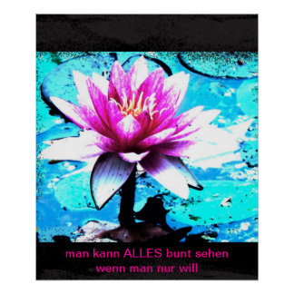 Poster abstract bloom turquoise pink