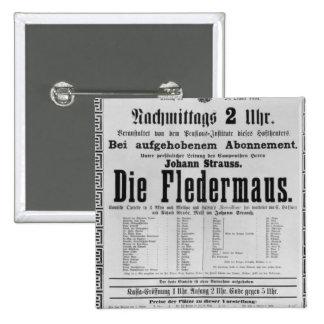 Poster advertising Die Fledermaus by Johann 15 Cm Square Badge