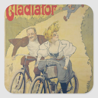 Poster advertising Gladiator bicycles Square Sticker
