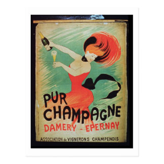 Poster advertising 'Pur Champagne', from Damery, E Postcard