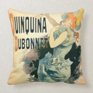 Poster advertising 'Quinquina' by Dubonnet (colour Throw Pillow
