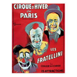 Poster advertising the 'Cirque d'Hiver de Paris' Postcard