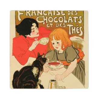 Poster Advertising the French Company of Chocolate Maple Wood Coaster