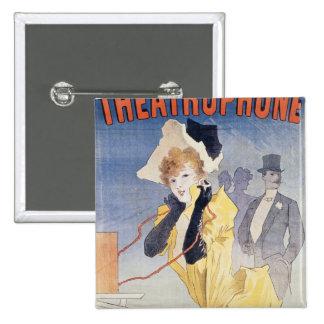 Poster Advertising the 'Theatrophone' 15 Cm Square Badge