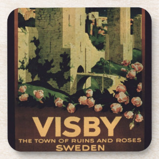 Poster advertising the town of Visby, Sweden (colo Beverage Coaster