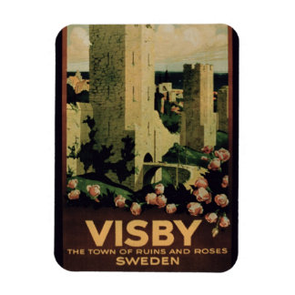 Poster advertising the town of Visby, Sweden (colo Rectangular Photo Magnet