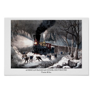 Poster - AMERICAN RAILROAD SCENE: SNOWBOUND