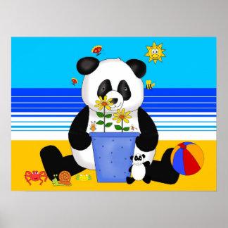 Poster Art Kid's Panda At The Beach