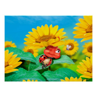Poster art sleepy snoozy Ladybug and sunflowers