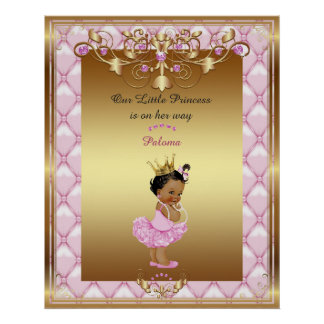 Poster Baby Girl, pink, gold, 16x20