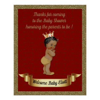 Poster Baby Shower Boy,  Prince boy, red, 16x20