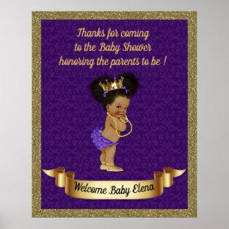 Poster Baby Shower Girl,Princess girl,purple,16x20