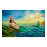 POSTER Beautiful  fantasy mermaid at sunset