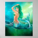 Poster-Beautiful mermaid at ocean on waves