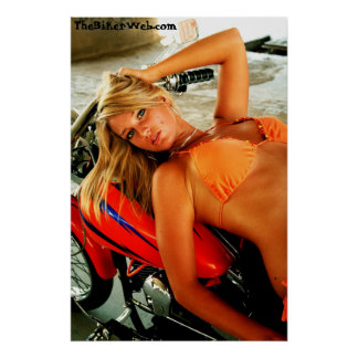 Poster: Bikini Babe on a Custom Motorcycle Poster