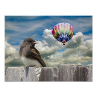 Poster - Bird and hot air balloon