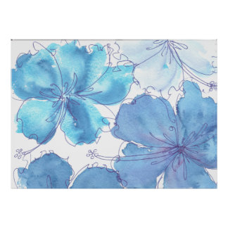 Poster - Blue Hibiscus Flower - Watercolor