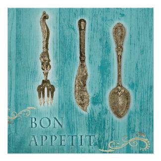 """Poster """"Bon appetite"""" with cutlery in the Vintage"""