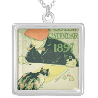 Poster Calendar, pub. by R.H. Russell & Son, 1897 Silver Plated Necklace