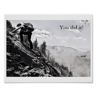 Poster  - Climbing, You did it! B&W Etching
