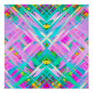 Poster Colorful digital art splashing G473