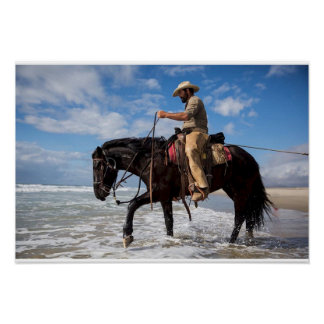 Poster cow servant boy horse in the sea