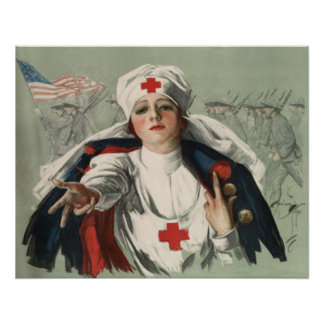 Poster from WWII with American Red Cross Print