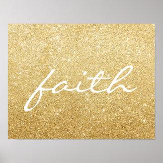 Poster - Gold Glitter faith