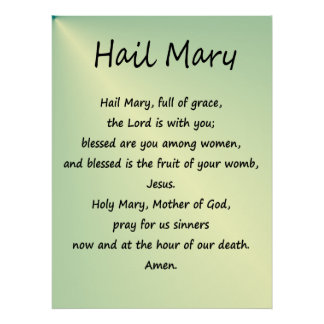 Poster ~ Hail Mary Christian Prayer
