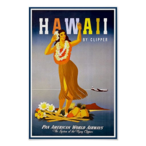 Poster-Hawaii Vintage Advertisement Poster