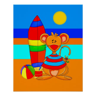 Poster Kid's Art Mouse At The Beach