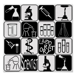 POSTER LABORATORY SCIENTIST SYMBOLS AND TOOLS