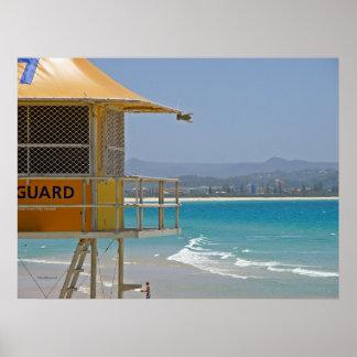 Poster Lifeguard Tower Coolangatta Qld Australia