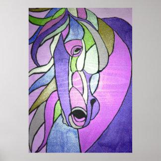 Poster, Metallic, horse, purple, art, popart