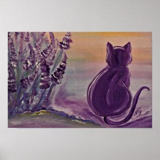 "Poster motive ""Lavender Cat"" of archives paper"